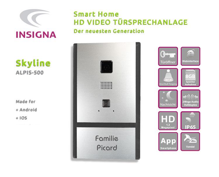Insigna,Video,Sprechanlage,Tueranlage,Wlan,Smart Home, Edelstahl, Fitzbox, HD
