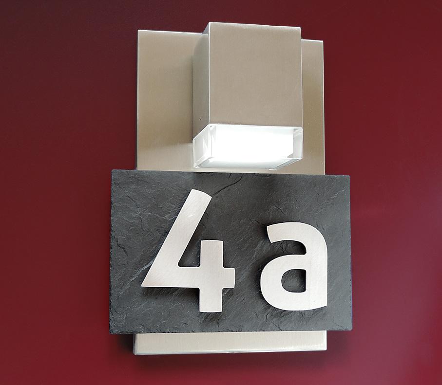 Hausnummer Schiefer Edelstahl Design 3D Hausnummernschild Stein Anthrazit Modern
