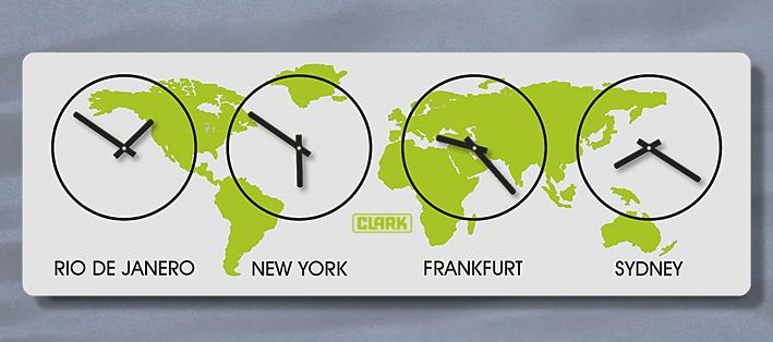 XL Weltzeit WandUhr, Zeitzonen Uhr, mit Raster, Silber Schwarz, Lautlos