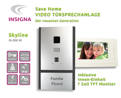 Insigna,Video,Sprechanlage,Tueranlage,Monitor,2-Draht, Edelstahl, HD, mit TFT, LCD DISPLAY