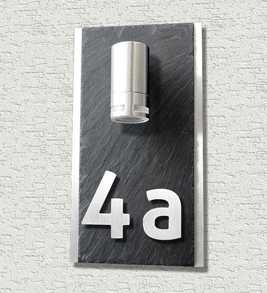 LED- Edelstahl HAUSNUMMER LEUCHTE mit Schiefer Modern DESIGN