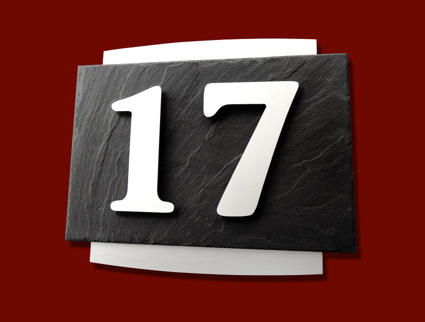LUXUS 3d, HAUSNUMMER, edelAluminium, Edelstahl gebürstet, SCHIEFER, HOCHWERTIG, Haus, exclusiv
