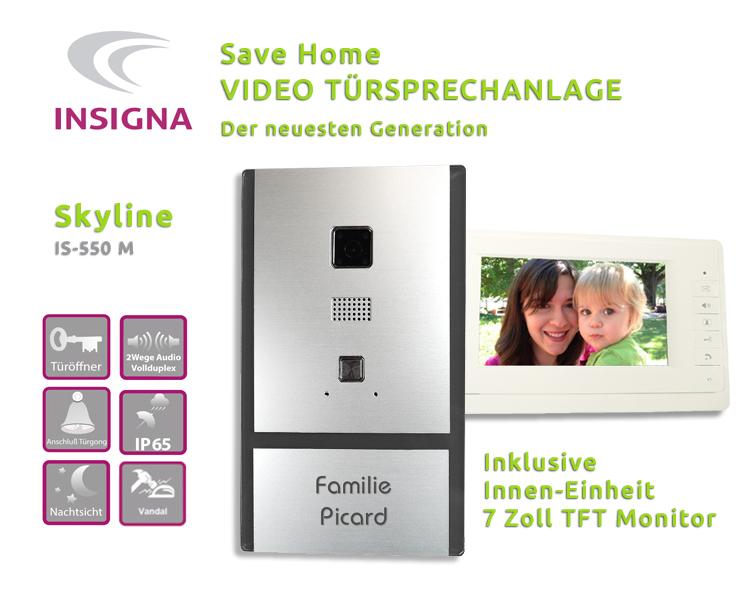 Video,Sprechanlage,Türanlage,Monitor,2-Draht, Edelstahl, HD, mit TFT, LCD DISPLAY