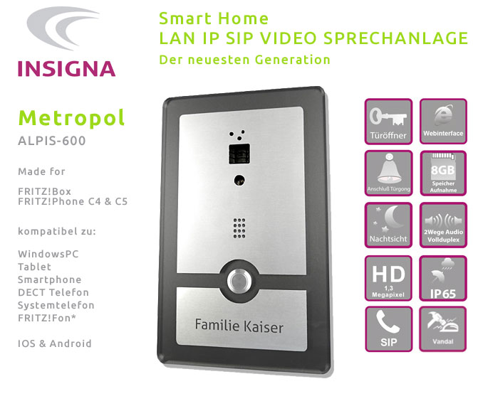 Insigna,Video,Sprechanlage,Tueranlage,IP,SIP,Smart Home, Edelstahl, Fitzbox, FRITZ!