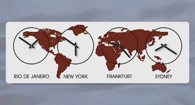 XL Weltzeit WandUhr, Zeitzonen WandUhr, Silber Burgund, Quarz, Lautlos