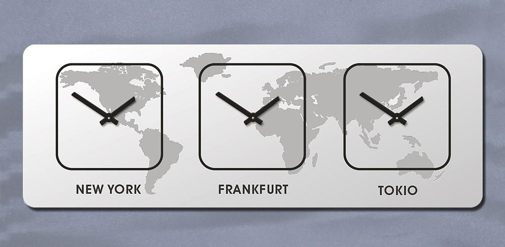 Rechteck, Weltzeit, Zeitzonen Uhr,  WANDUHR, Quadratisch, Quarz