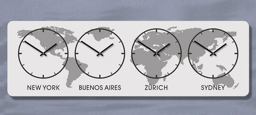 XL Weltzeit WandUhr, Zeitzonen Uhr,mit Raster, Silber Schwarz, Quarzuhr, Lautlos