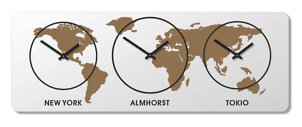 Weltzeit Zeitzonen Uhr Wanduhr DESIGN
