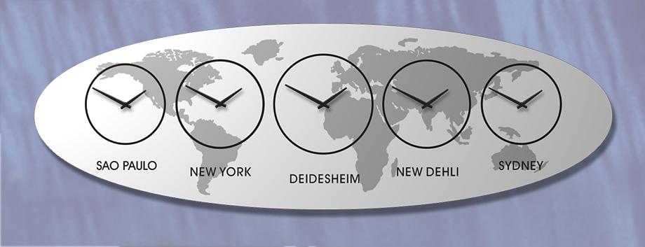 SILBER, Weltzeit, Zeitzonen, Uhr, Wanduhr, DESIGN, WANDUHRmit Zeitzonen