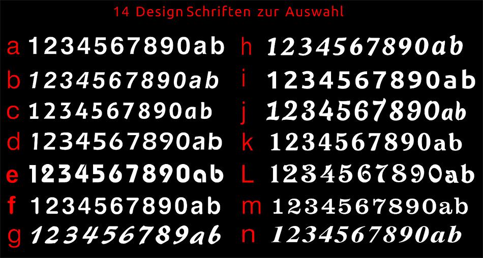 Design HAUSNUMMER Alu Edelstahl SCHIEFER