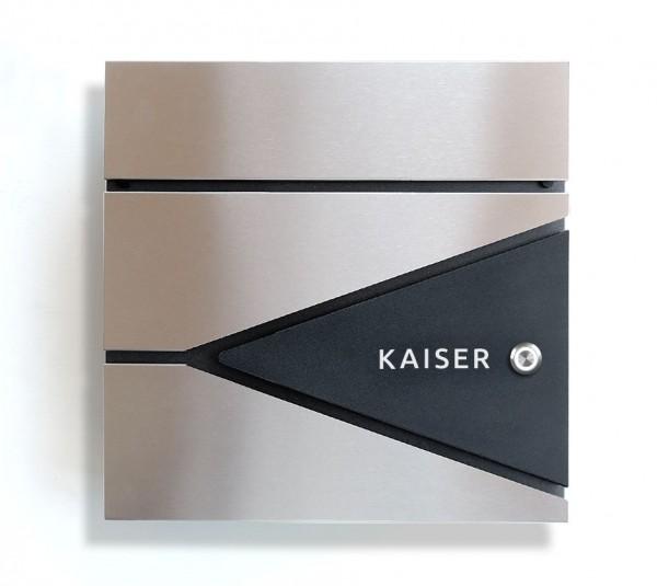 DUOS FUNK - Hochwertiger Design Briefkasten - mit FUNK - KLINGEL -  Edelstahl-Anthrazit