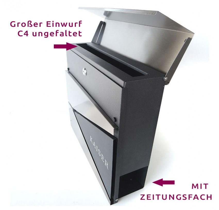Briefkasten Edelstahl Postkasten mit Zeitungsfach Briefkasten M Anthrazit