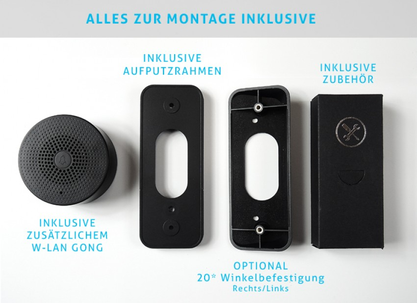 01 MERIDIAN W-LAN SMART HOME  2K-Quad-HD Video Klingel mit Gong - ALEXA UND GOOGLE
